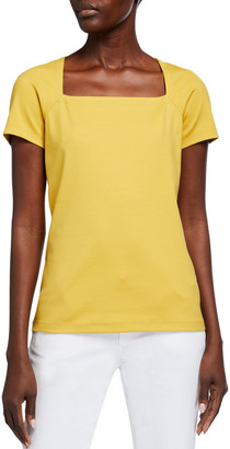 Lafayette 148 New York Corinne Swiss Cotton Rib Short-Sleeve Top