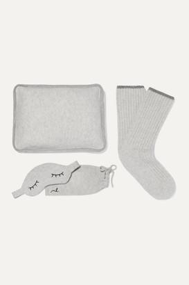 Morgan Lane Sleepy Lurex-trimmed Cashmere Socks, Eye Mask And Pillow Set - Gray