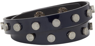 Faith Connexion Navy Leather Stud Bracelet