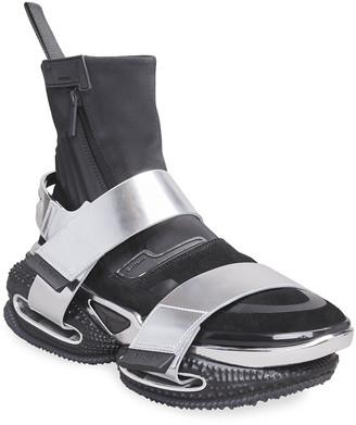 Balmain Men's B-Bold Metallic Double-Grip Strap High-Top Sneakers