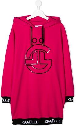Gaelle Paris Kids TEEN logo-print hoodie dress