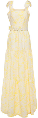 Rebecca Vallance Tiered Printed Linen-blend Maxi Dress