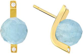 Yael Sonia Rock Aquamarine Diamond 18K Yellow Gold Stud Earrings