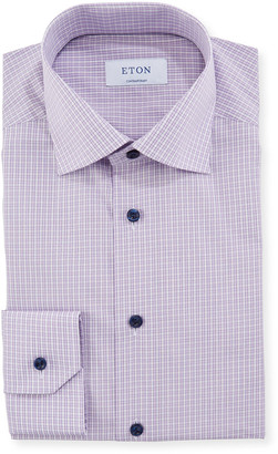 Eton Men's Contemporary Plaid Dress Shirt With Piping