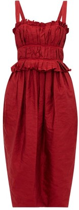 Brock Collection Palmira Ruched Crinkle Satin Midi Dress - Womens - Burgundy
