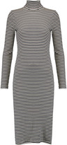 Petit Bateau Striped cotton rib-knit turtleneck midi dress
