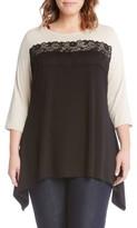 Karen Kane Plus Size Women's Lace Trim Handkerchief Hem Top