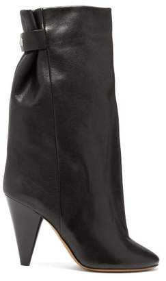 Isabel Marant Lakfee Slouched Leather Boots - Womens - Black