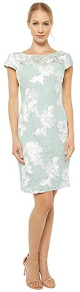 Adrianna Papell Soutache Lace Sheath Dress (Seafoam/Ivory) Women's Dress