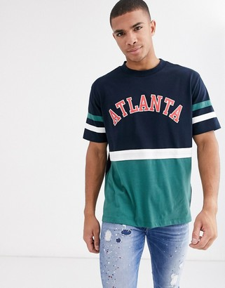 Asos DESIGN relaxed t-shirt with color block and collegiate print in organic cotton