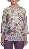 Alfred Dunner Palm Desert 3/4 Sleeve Split Crew Neck T-Shirt-Womens