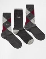 Pringle Waverley Argyle Socks In 3 Pack