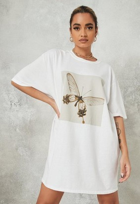 Missguided White Butterfly Oversized T Shirt Dress