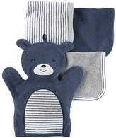Carter's Baby 4-pc. Bear Hand Mitt & Patterned Wash Cloth Set