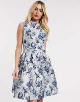 Chi Chi London open back prom dress in metallic blue jacquard