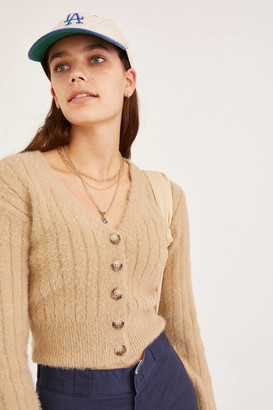 Urban Outfitters Madie Fuzzy Fitted Cardigan