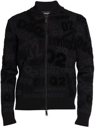 DSQUARED2 Allover Logo Zip Jacket