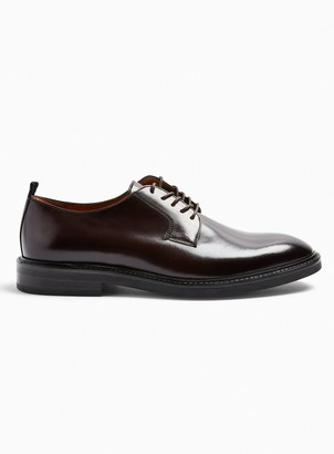 Topman Burgundy Real Leather Venice Derby Shoes