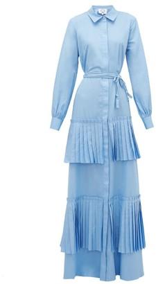 Evi Grintela Hydrangea Pleated Cotton-poplin Shirt Dress - Blue