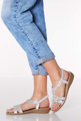 Quiz Comfort Silver Diamante Strappy Low Heel Wedges