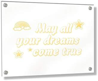 Camilla And Marc Feel Good Art Wall Mounted Acrylic Frame with Stand-Off Bolts (40 x 30 x 0.6 cm, Medium, Soft Pink, May All Your Dreams Come True/Nursery Dècor)