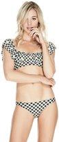 GUESS Gingham Ruffle Bikini Top