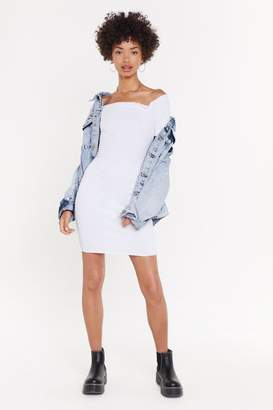 Nasty Gal Womens Overboard Off-the-Shoulder Mini Dress - white - 12