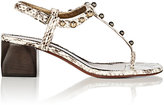 Lanvin WOMEN'S EMBELLISHED SNAKESKIN T-STRAP SANDALS-WHITE, BLACK, NO COLOR SIZE 8.5