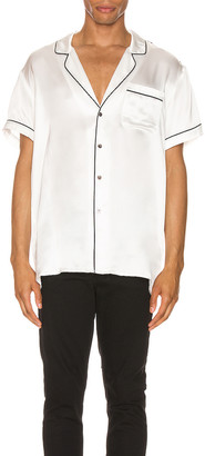Keiser Clark Silk Pajama Shirt in White | FWRD