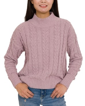 Hippie Rose Juniors' Cable-Knit Mock-Neck Chenille Sweater