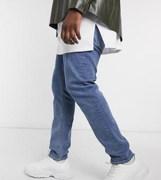 ASOS DESIGN Plus skinny jeans in flat mid wash blue