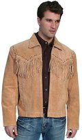 Scully Western Jacket Mens Boar Suede Zip Fringe L Bourbon 221-409