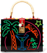 Dolce & Gabbana Dolce Textured Leather-trimmed Embellished Perspex Clutch - one size