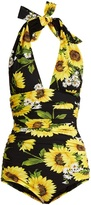 Dolce & Gabbana Sunflower-print halterneck swimsuit
