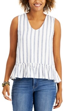 Style&Co. Style & Co Petite Striped Ruffle-Hem Top, Created for Macy's