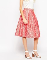 Traffic People Falling Flowers Prom Skirt In Daisy Jacquard