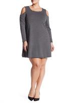 Bobeau Ribbed Striped Cold Shoulder Dress (Plus)