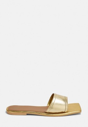 Missguided Gold Square Toe Leather Flat Sandals