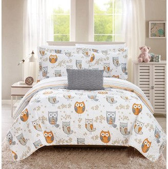 Chic Home Strix 3 Piece Reversible Quilt Set It's A Hoot Owl Friends