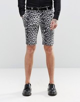 Religion Skinny Smart Shorts In Leopard Print