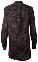 Lauren Ralph Lauren Women's Printed Button Placket Blouse (S, Black/Tan)