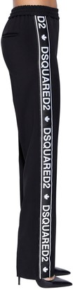 DSQUARED2 Logo Bands Wool Blend Cady Track Pants