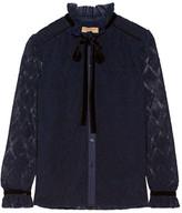Burberry Velvet And Stretch Cotton-trimmed Macramé Lace Blouse - Navy