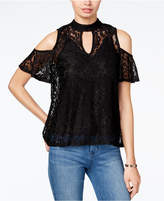 BCX Juniors' Lace Cold-Shoulder Choker Top