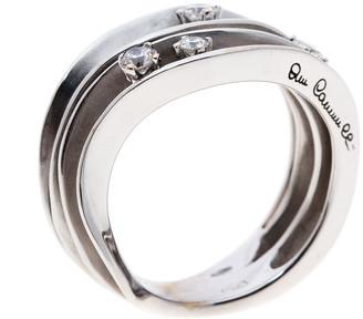 Dune Annamaria Cammilli 4 Diamonds 18k White Gold Ring Size 54