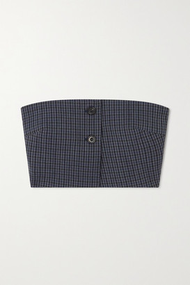 Wright Le Chapelain - Checked Wool Bustier Top - Dark gray