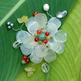 Prehnite and Serpentine Brooch Pin, 'Lime Blossom'