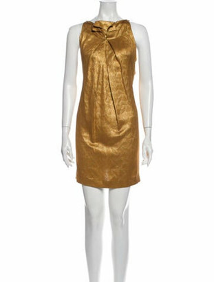 Roland Mouret Silk Mini Dress Gold