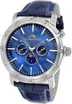 Porsamo Bleu Men's NYC Stainless Steel Blue Dial Moon Watch, 47mm