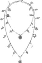 Alexander McQueen Silver-plated Swarovski crystal charm necklace